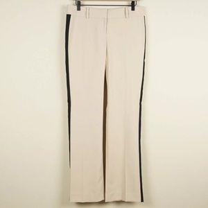 Ann Taylor Beige Tan Black Strip Tuxedo Pants Sz 4